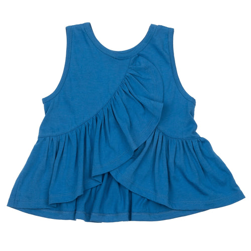 Pink chicken blue ruffle girls sleeveless top