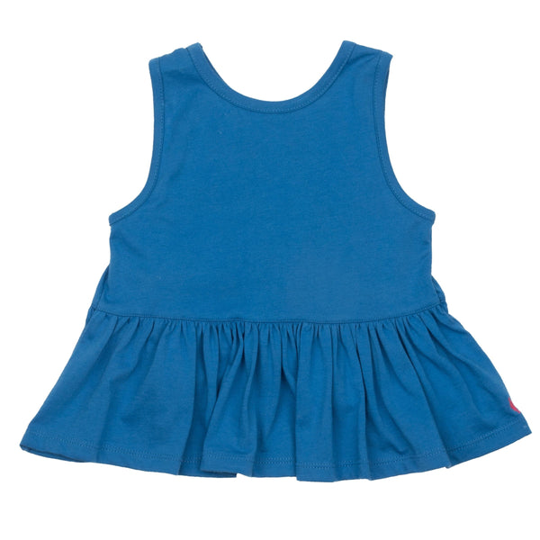 Pink chicken blue ruffle girls tank top