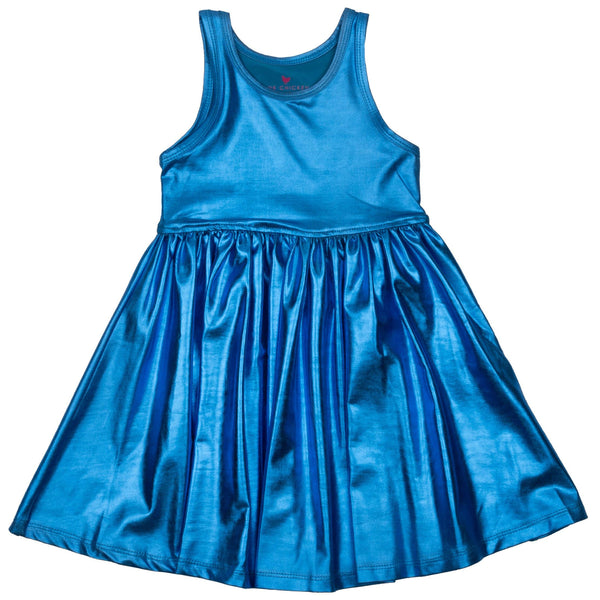 Pink chicken blue metallic sleeveless girls dress