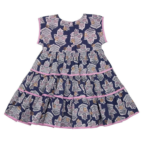 Pink chicken blue print short sleeve girls dress