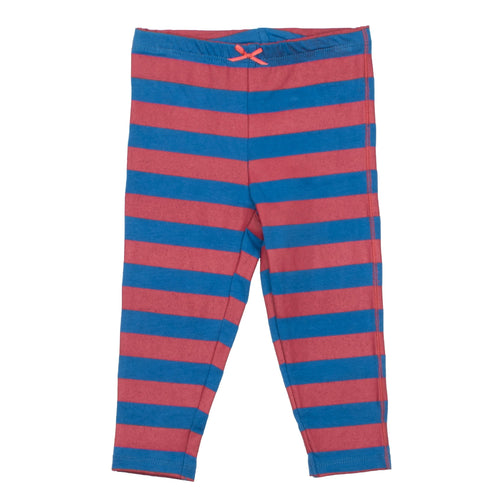 Pink chicken blue stripe girls leggings