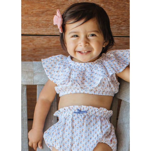 Pink chicken two piece baby girl bloomer set