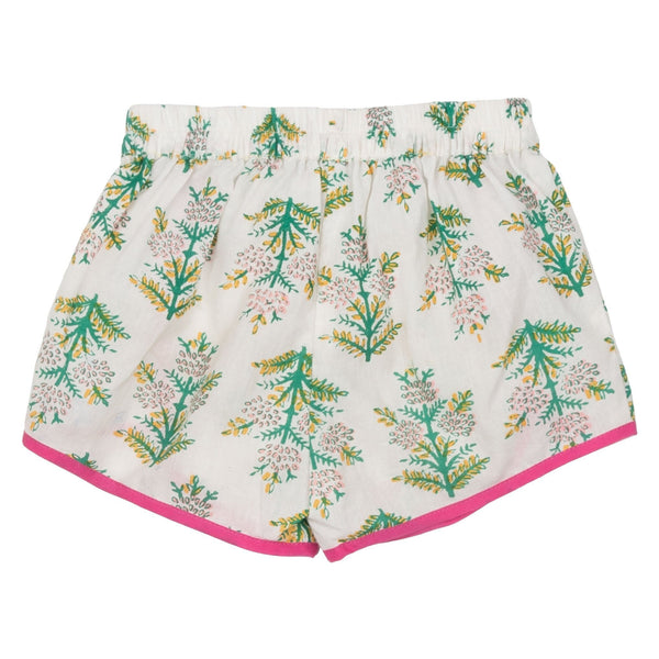 Pink chicken green print girls drawstring shorts