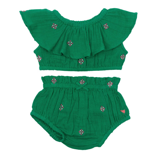 pink chicken green baby girl romper set