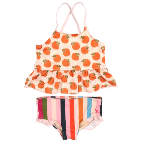 Pink chicken orange stripe girls tankini swimsuit