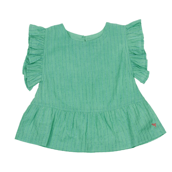 Pink chicken green sleeveless girls top