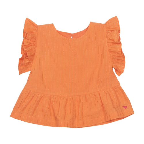 Pink chicken orange ruffle girls tank top