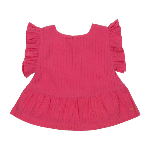 Pink chicken hot pink ruffle girls top