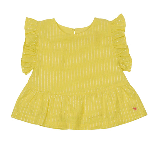 Pink chicken yellow short sleeve girls top