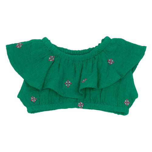 Pink chicken green embroidered girls crop top