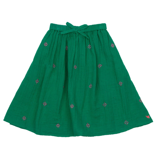 Pink chicken kelly green girls maxi skirt