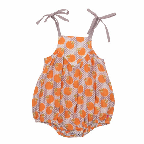 Pink chicken orange print baby girl romper