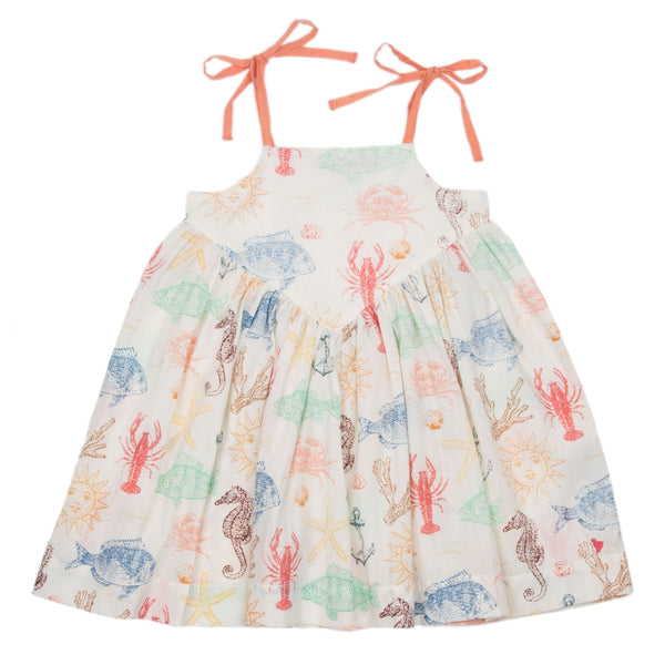 Pink chicken sea creature print girls sleeveless dress