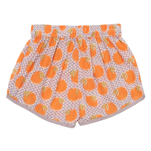 Pink chicken orange and pink print girls shorts