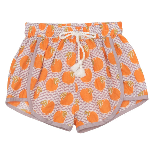 Pink chicken orange print girls shorts