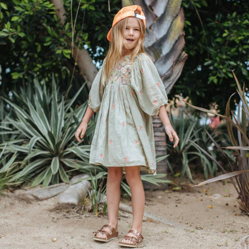Pink chicken green embroidered girls peasant dress