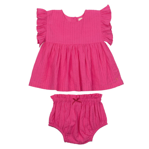 Pink chicken fuchsia baby girl bloomer set