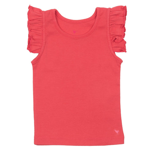 Pink chicken pink ruffle girls tank top