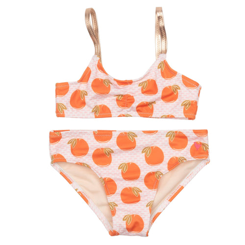 Pink chicken orange print girls bikini