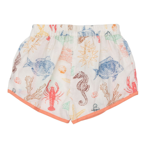 Pink chicken ocean print girls shorts