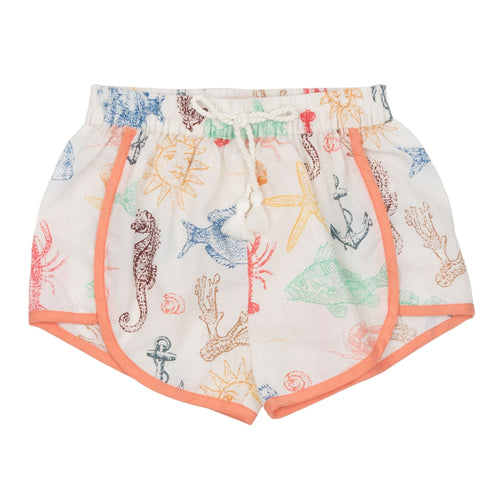 Pink chicken sea creature print girls shorts