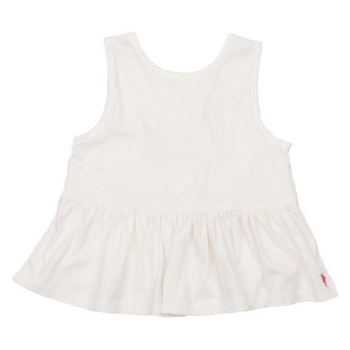 Pink chicken white ruffle girls tank top