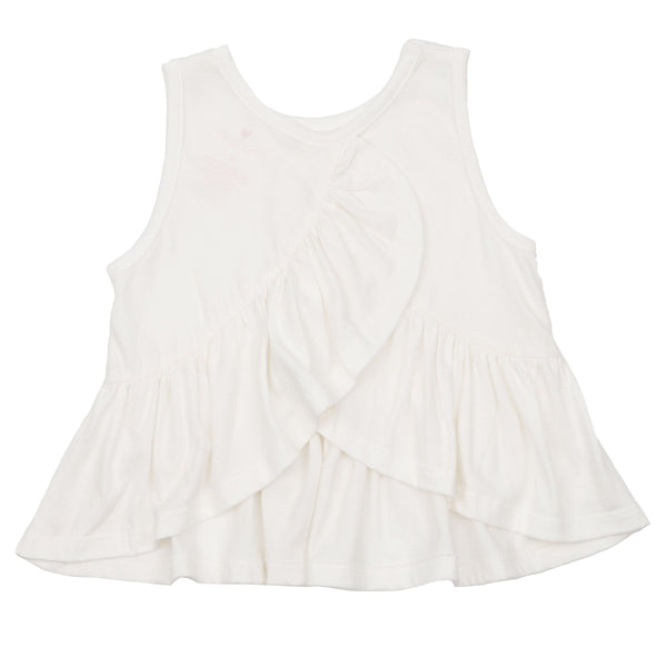 Pink chicken white ruffle girls sleeveless shirt
