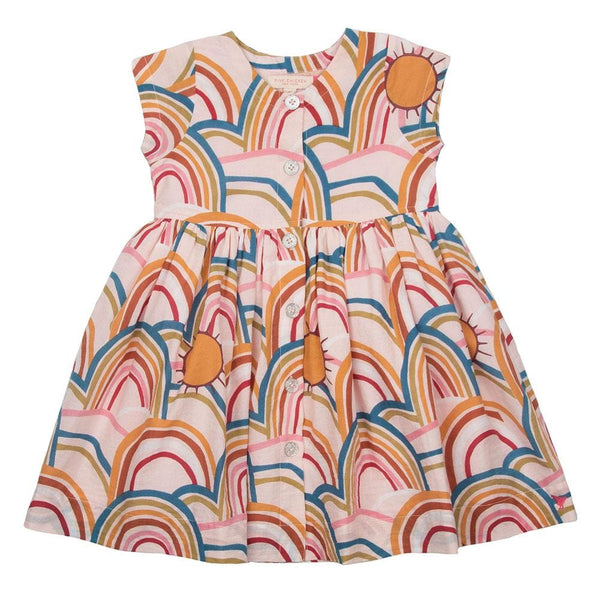 Pink chicken pink rainbow print girls dress