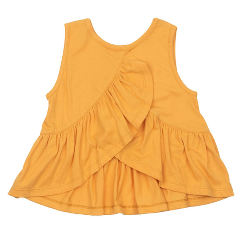 Pink chicken yellow ruffle girls sleeveless top
