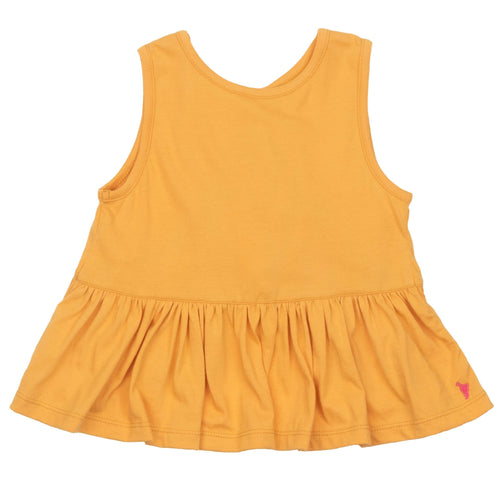 Pink chicken yellow ruffle girls tank top