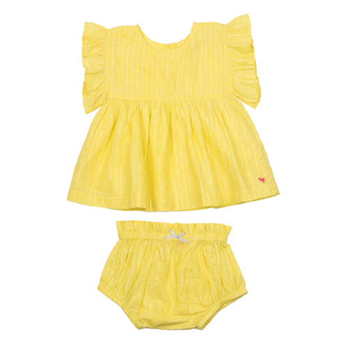Pink chicken yellow baby girl bloomer set