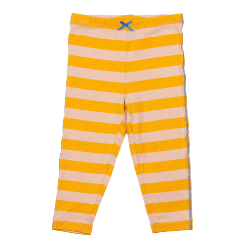 Pink chicken yellow stripe girls leggings