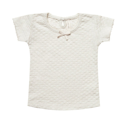 Baby ivory pointelle short sleeve knit tee