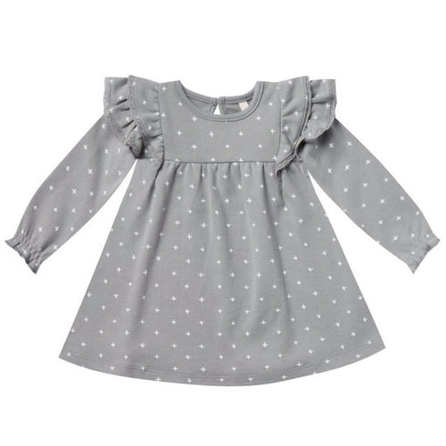 Quincy Mae blue ruffle baby girl dress