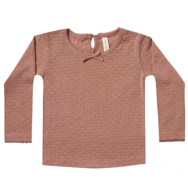 Quincy Mae clay pointelle baby tee
