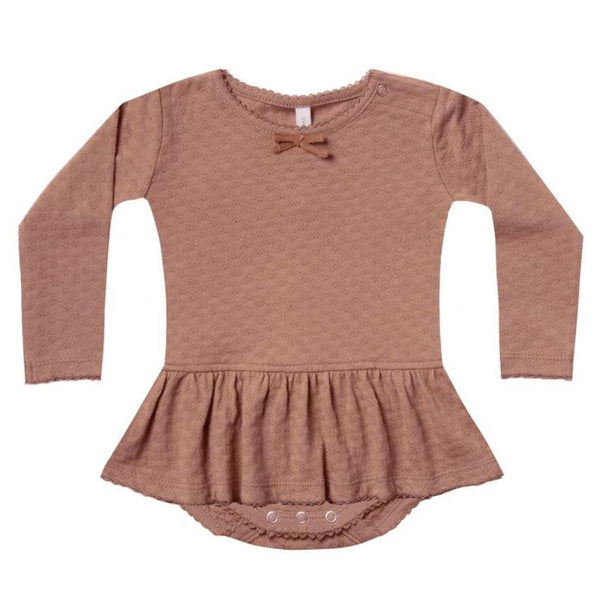 Quincy Mae clay pointelle organic skirted baby girl onesie