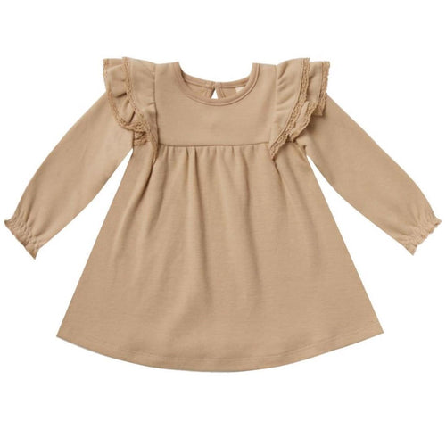 Quincy Mae honey organic long sleeve baby girl dress with ruffles