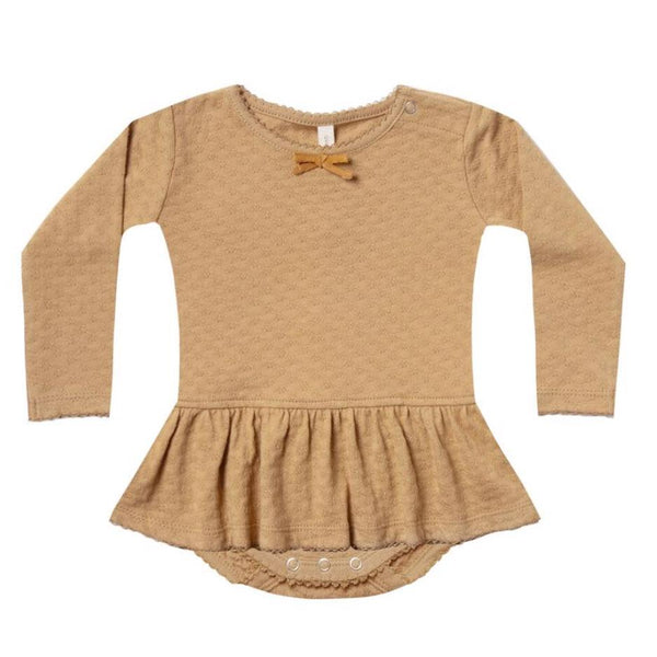 Quincy Mae honey pointelle organic skirted baby girl onesie