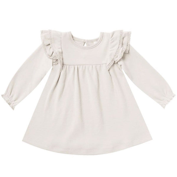 Quincy Mae ivory organic long sleeve baby girl dress