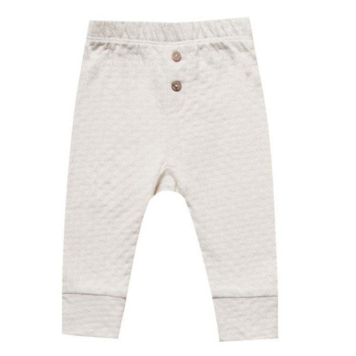 Quincy Mae organic pointelle ivory baby girl pants