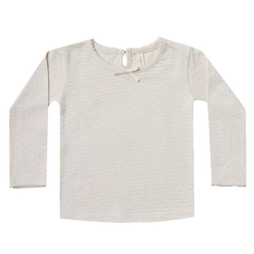 Quincy Mae ivory organic pointelle long sleeve baby girl t shirt