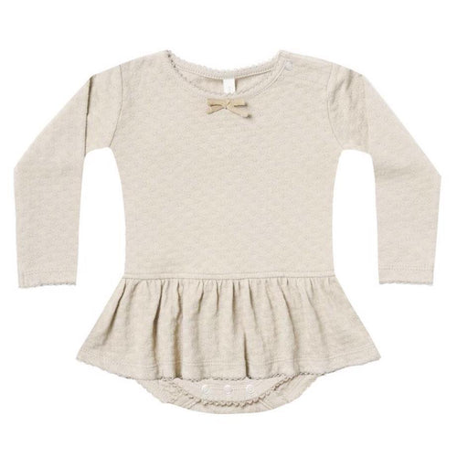 Quincy Mae ivory pointelle skirted baby girl onesie