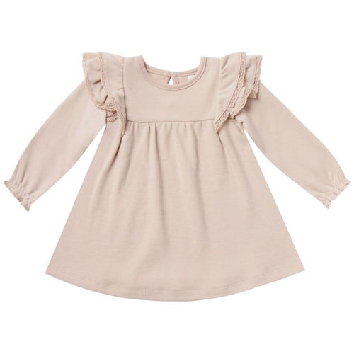 Quincy Mae rose ruffle shoulder baby girl dress