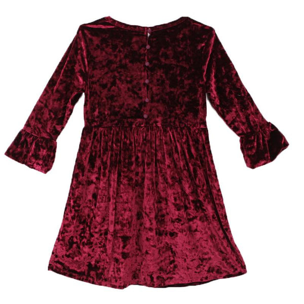 Girl burgundy crushed velvet dress