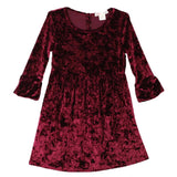 Tween girl velvet dress with peasant sleeves
