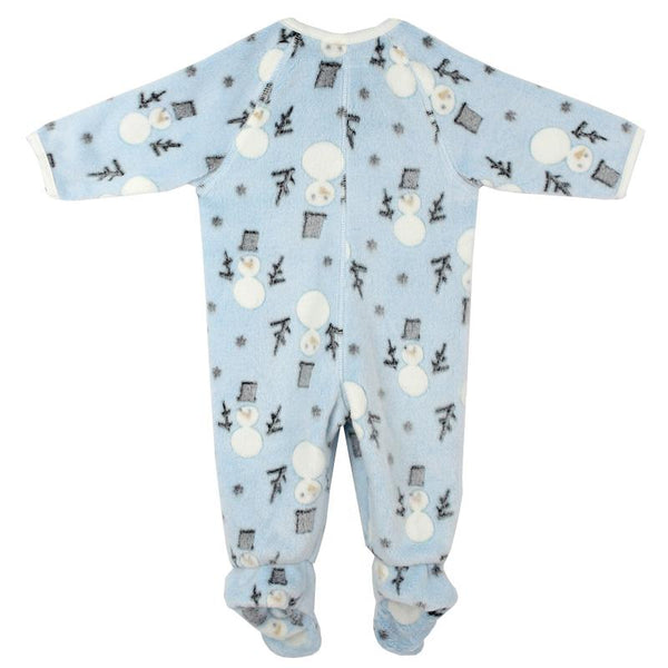 Baby boy footie pajamas with snowman print