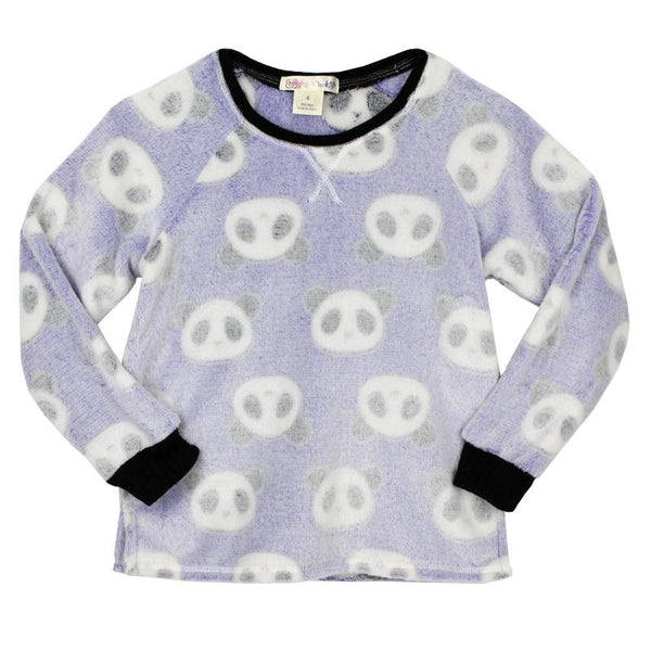 Girls panda print pajama top