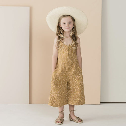 Girls rust sleeveless jumpsuit on model