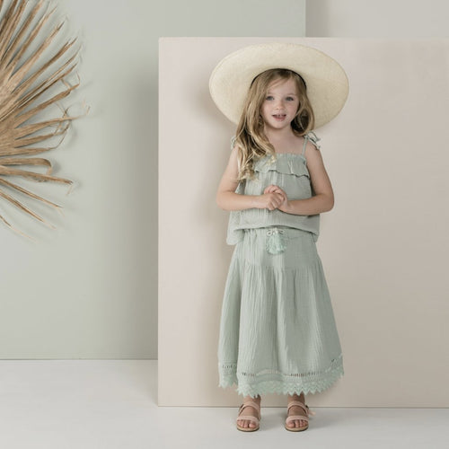 Girls mint green maxi skirt on model