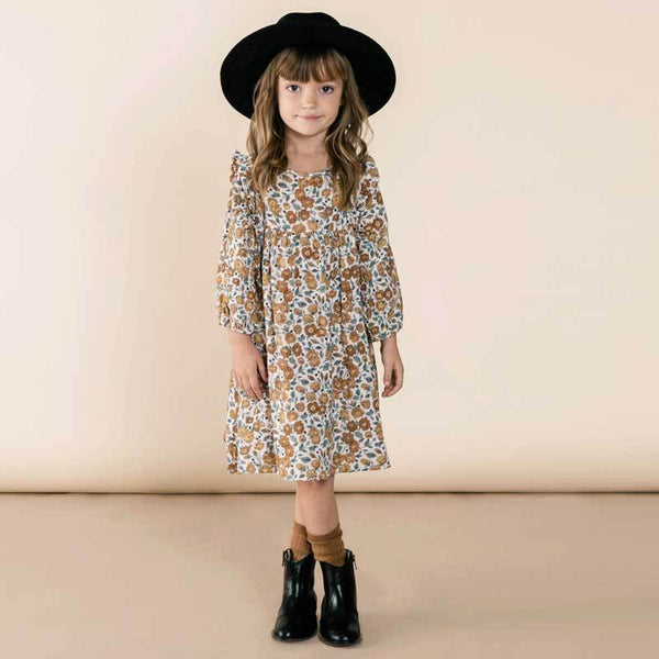 Rylee and Cru orange fall floral girls dress